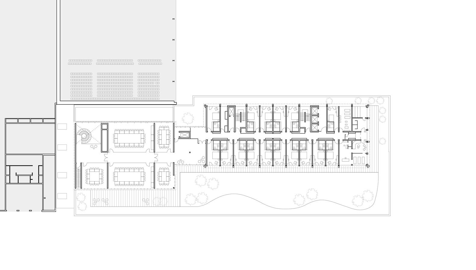 Grundriss 1. OG mit Gästezimmern und Tagungsbereich an der Dachterrasse.