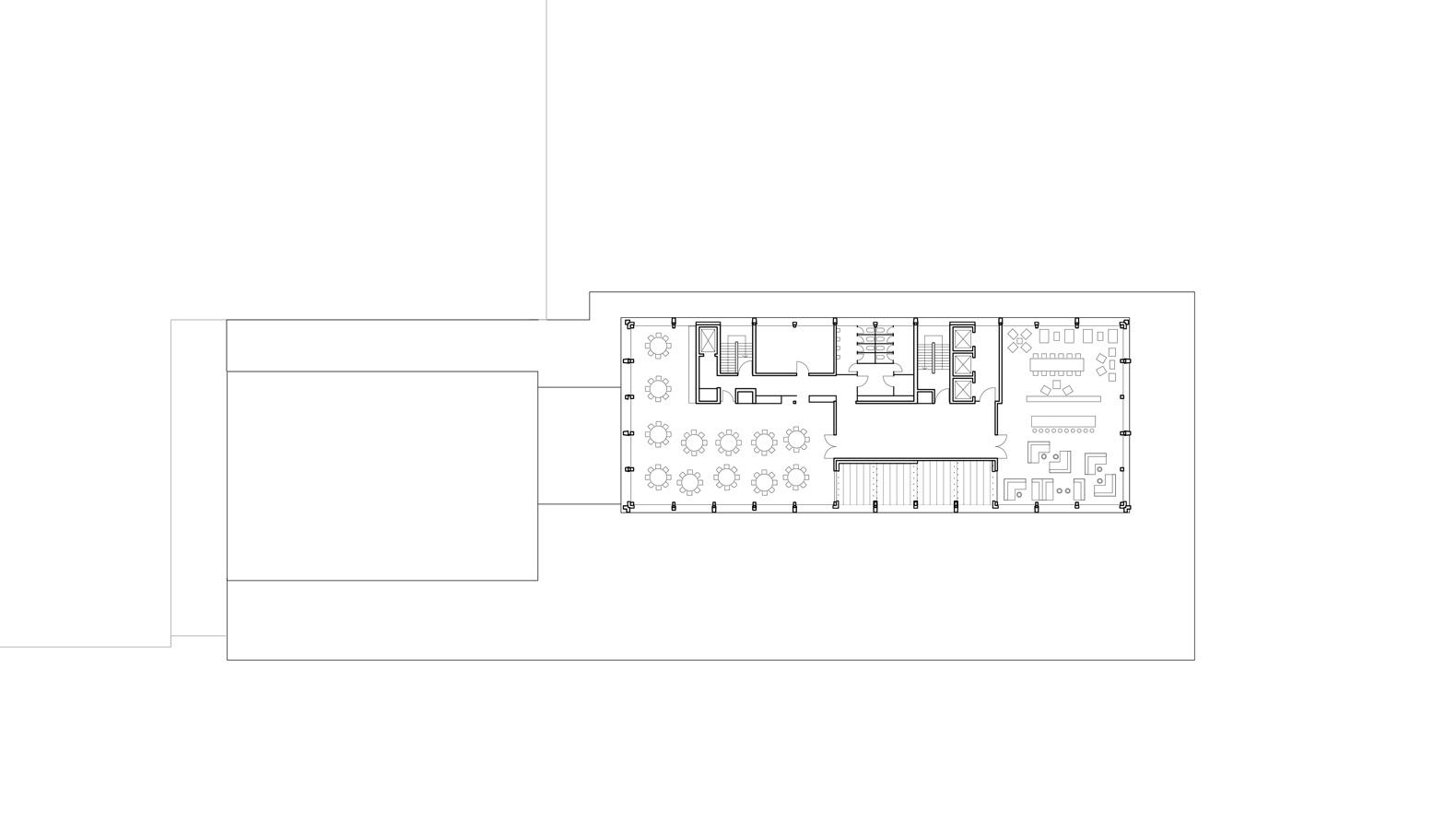 Grundriss 10. OG mit Bankettsaal, Dachterrasse und Skybar.