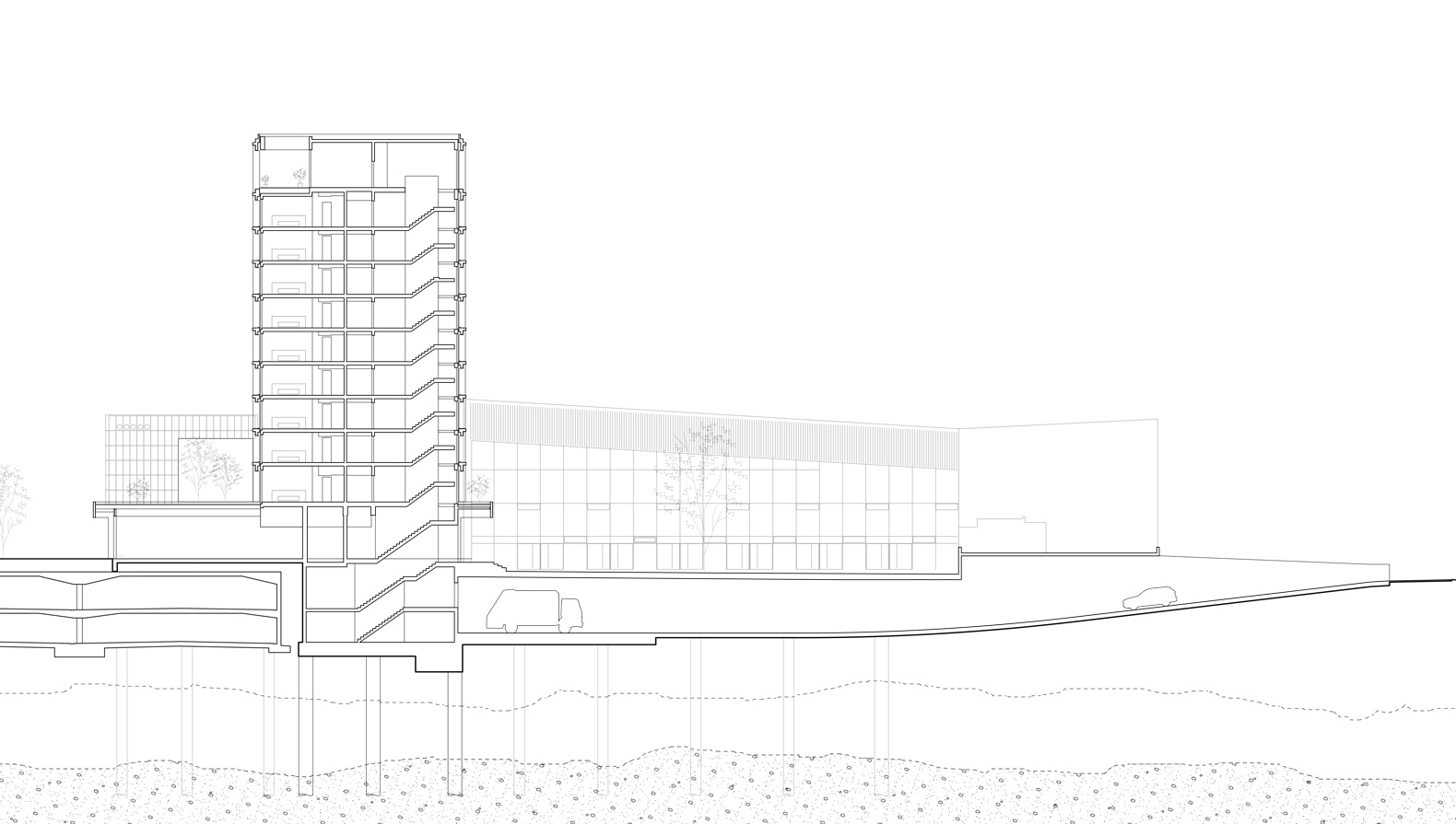 Querschnitt: Das Hochhaus gründet auf Bohrpfählen neben der Bestandstiefgarage und das Restaurant steht als Stahlkonstruktion darauf.