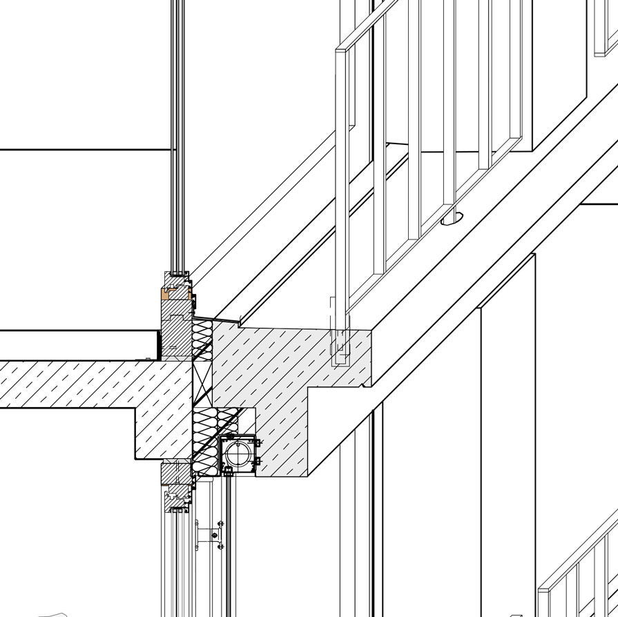 Fassadendetail mit Fertigteilen