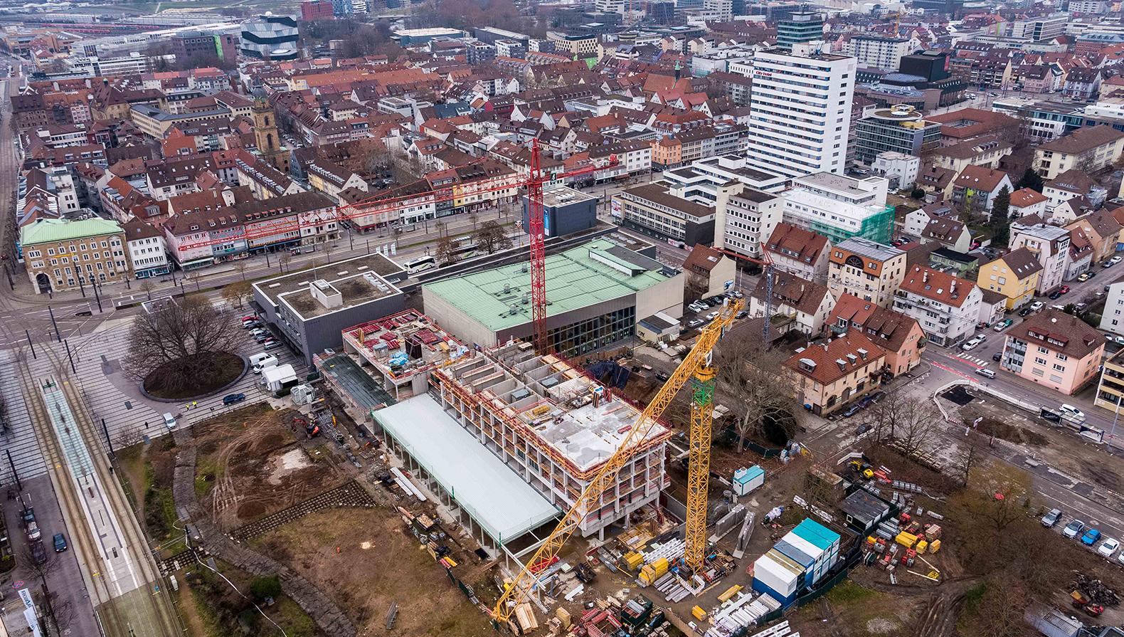Die Lage des Parkhotels in der Innenstadt von Heilbronn.