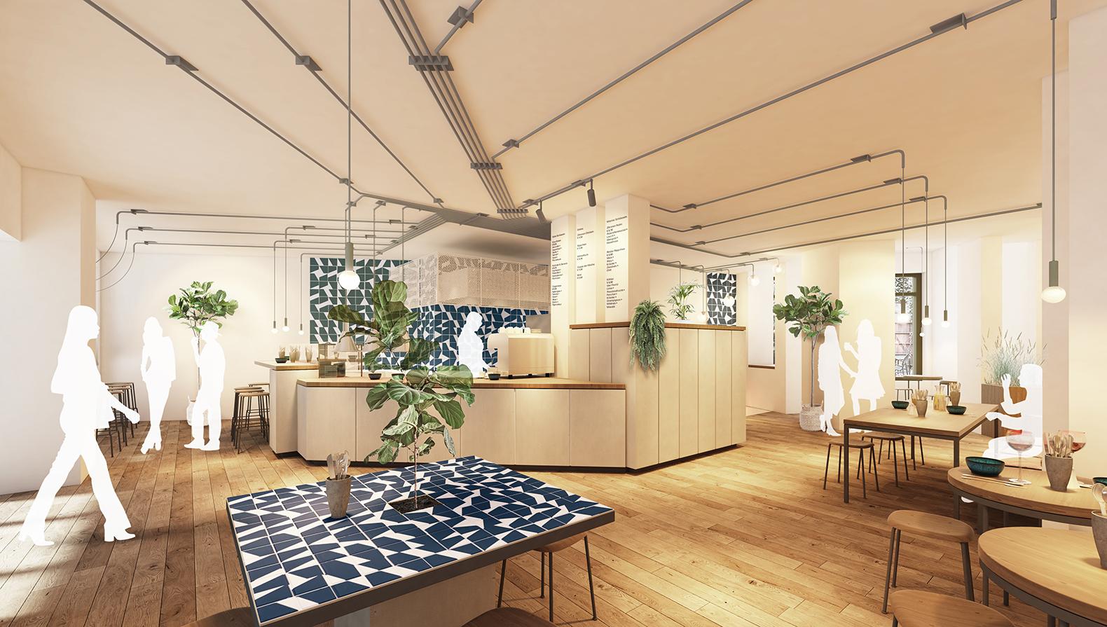 Visualisierung: Blick in den Gastraum mit Küche