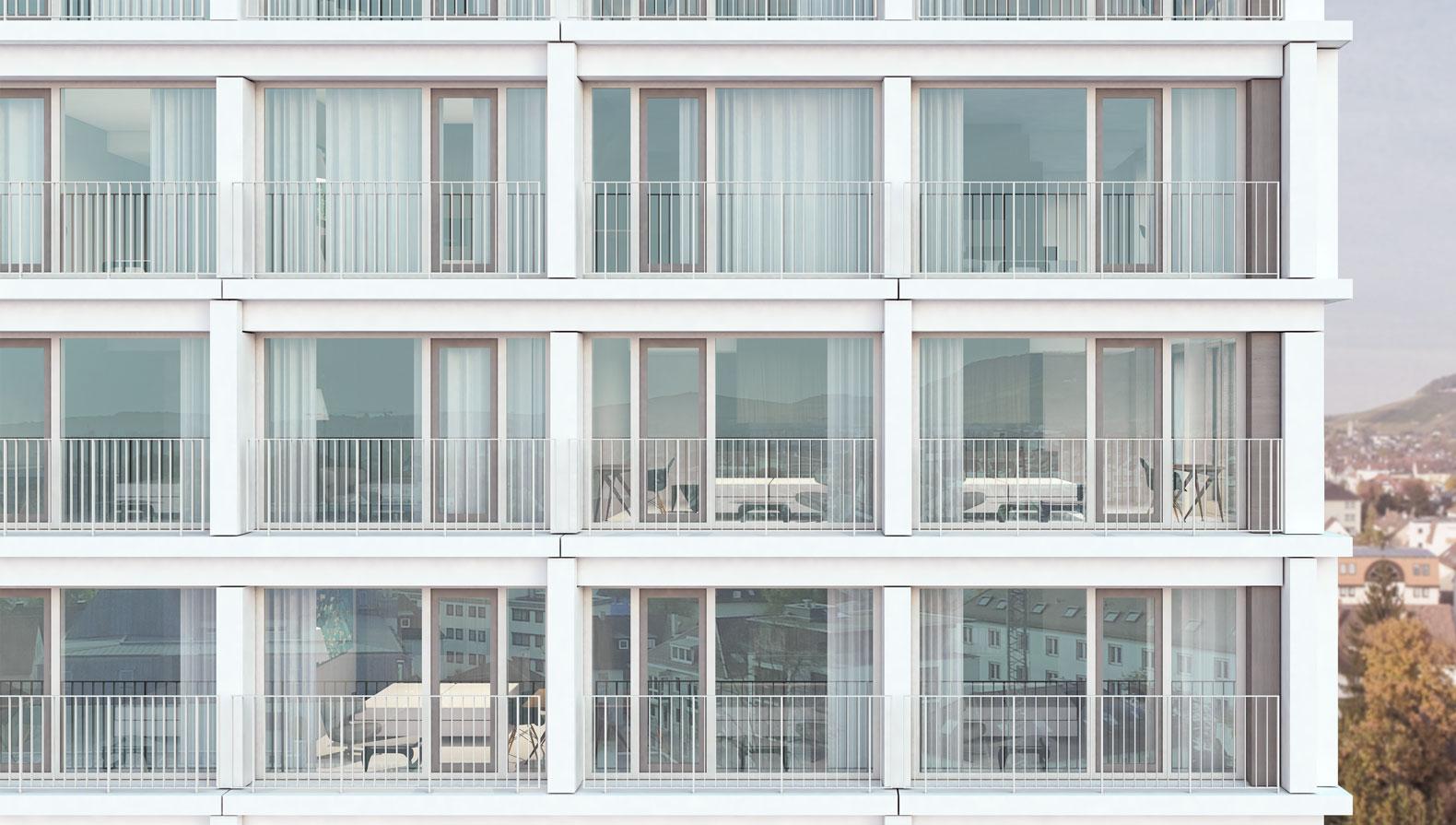 Fassade aus weißen Betonfertigteilen