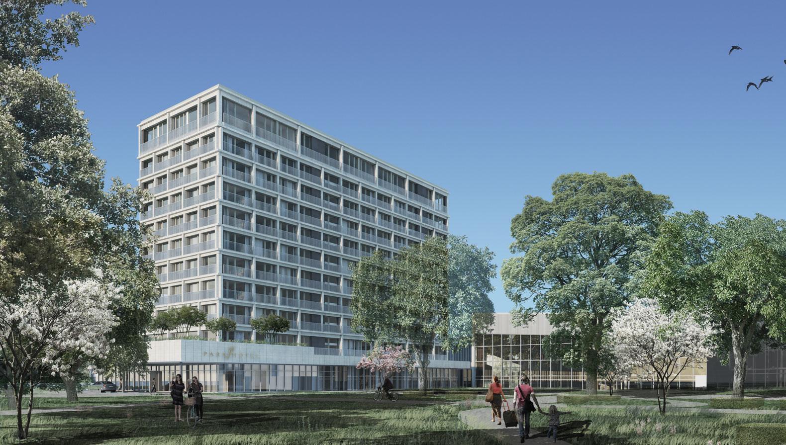 Perspektive Hotelvorfahrt und Seminargarten mit Theodor-Heuß-Saal