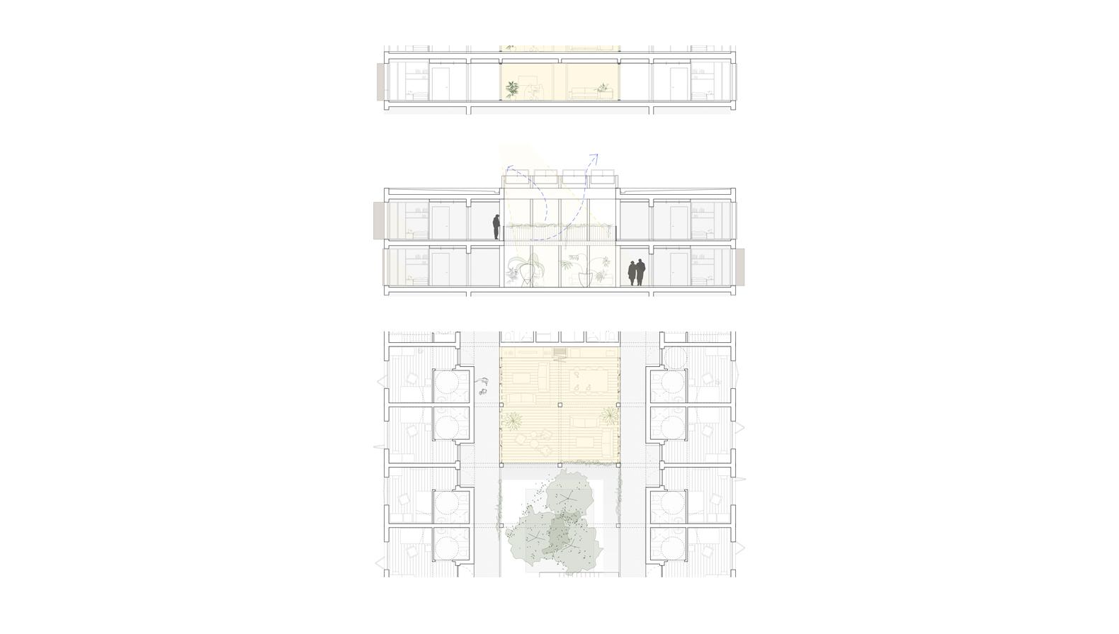 Grundriss und Schnitt der Innenhöfe